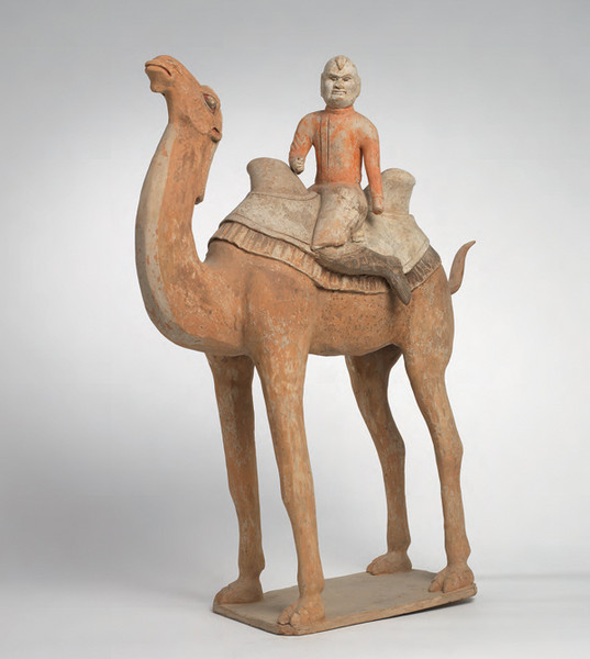 A painted pottery camel and rider