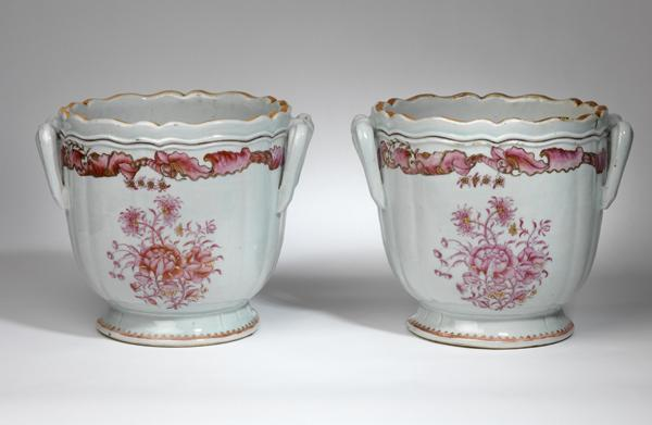 A pair of fine porcelain wine coolers