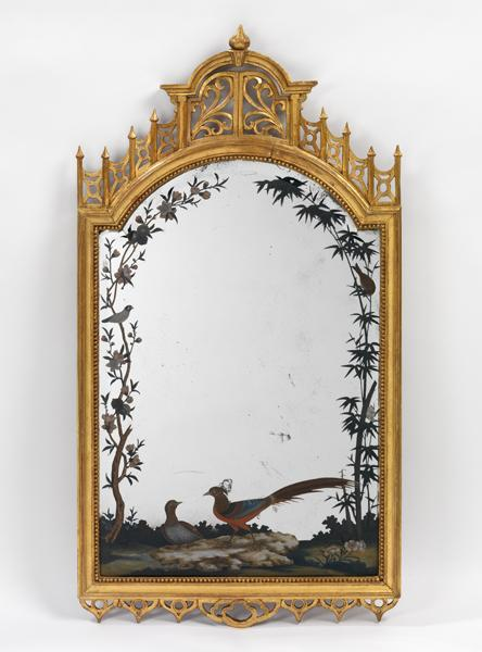 A reverse glass painting