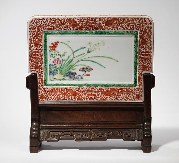 A rare famille-rose porcelain table screen