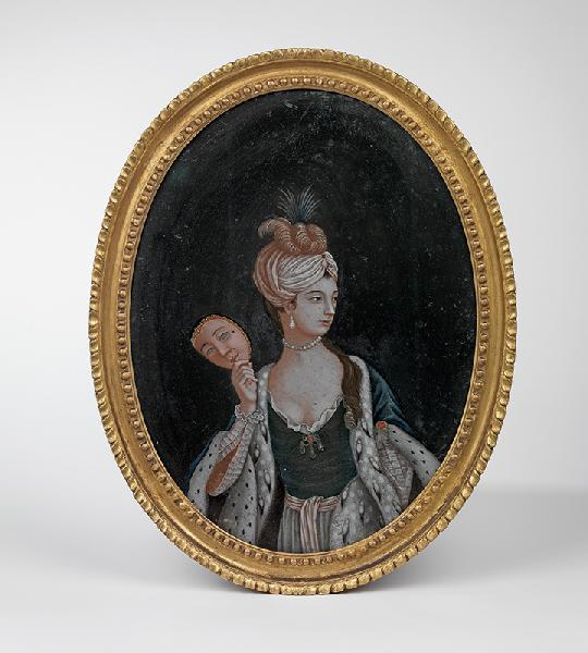 An oval reverse glass painting