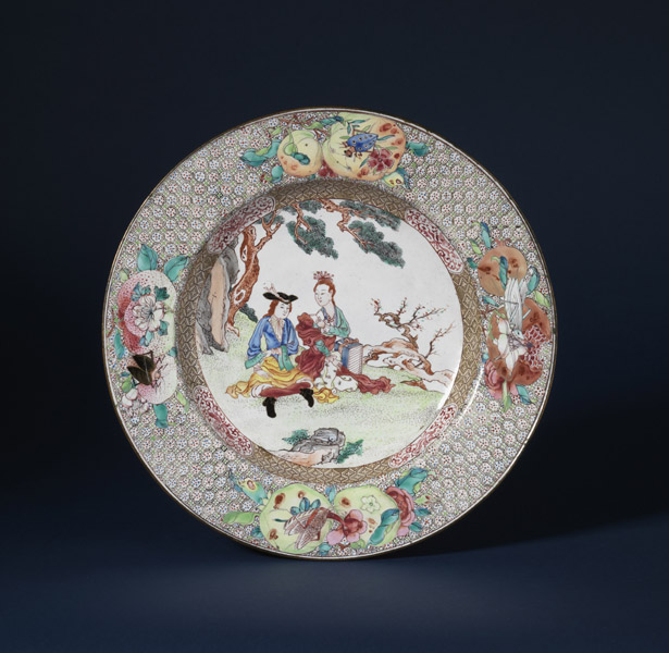 Painted enamel dish