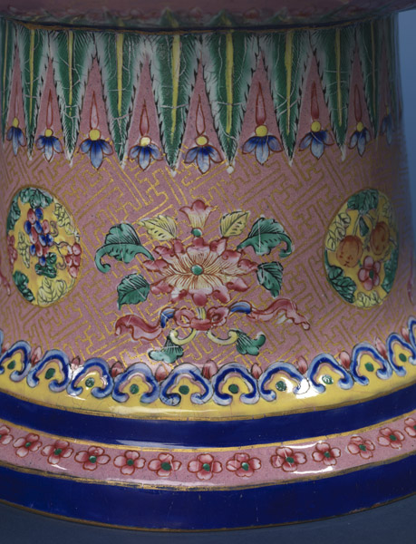 Painted enamel candlestick
