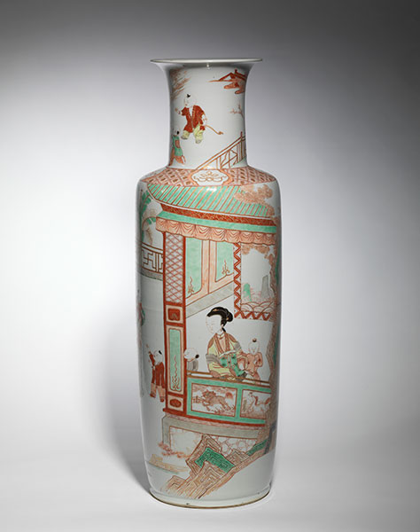A large famille-verte and iron-red porcelain rouleau vase