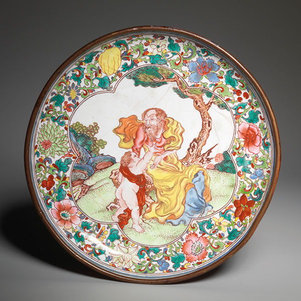 Painted enamel ruby-backed saucer
