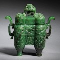 A fine jade incense burner and cover
