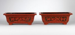A pair of carved two-colour lacquer jardinières