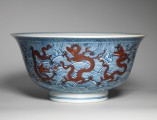 An iron-red decorated blue and white porcelain bowl